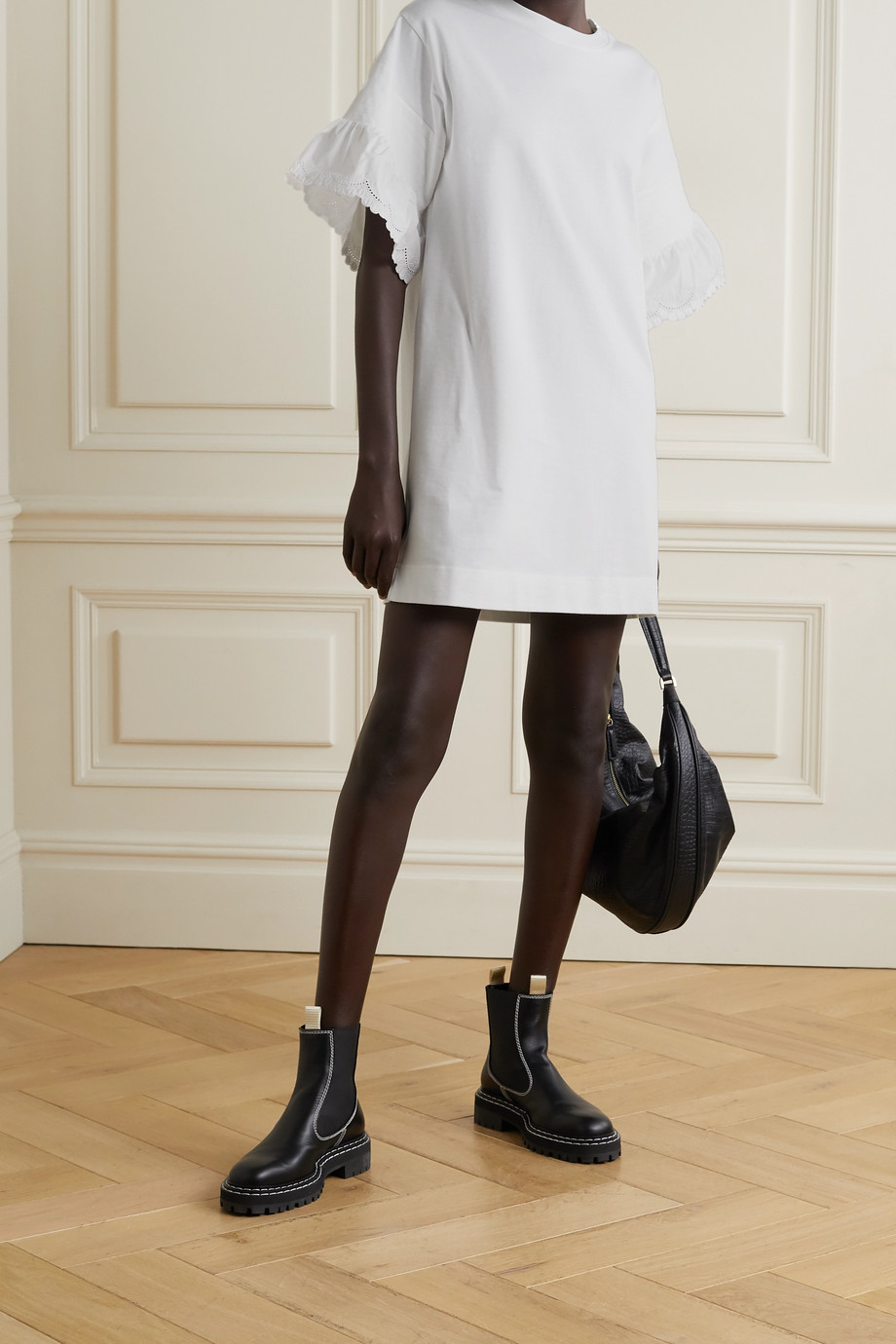 See By Chloé Scalloped broderie anglaise-trimmed cotton-jersey mini dress