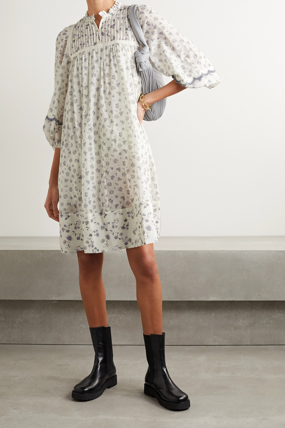 See By Chloé Pintucked floral-print cotton dress