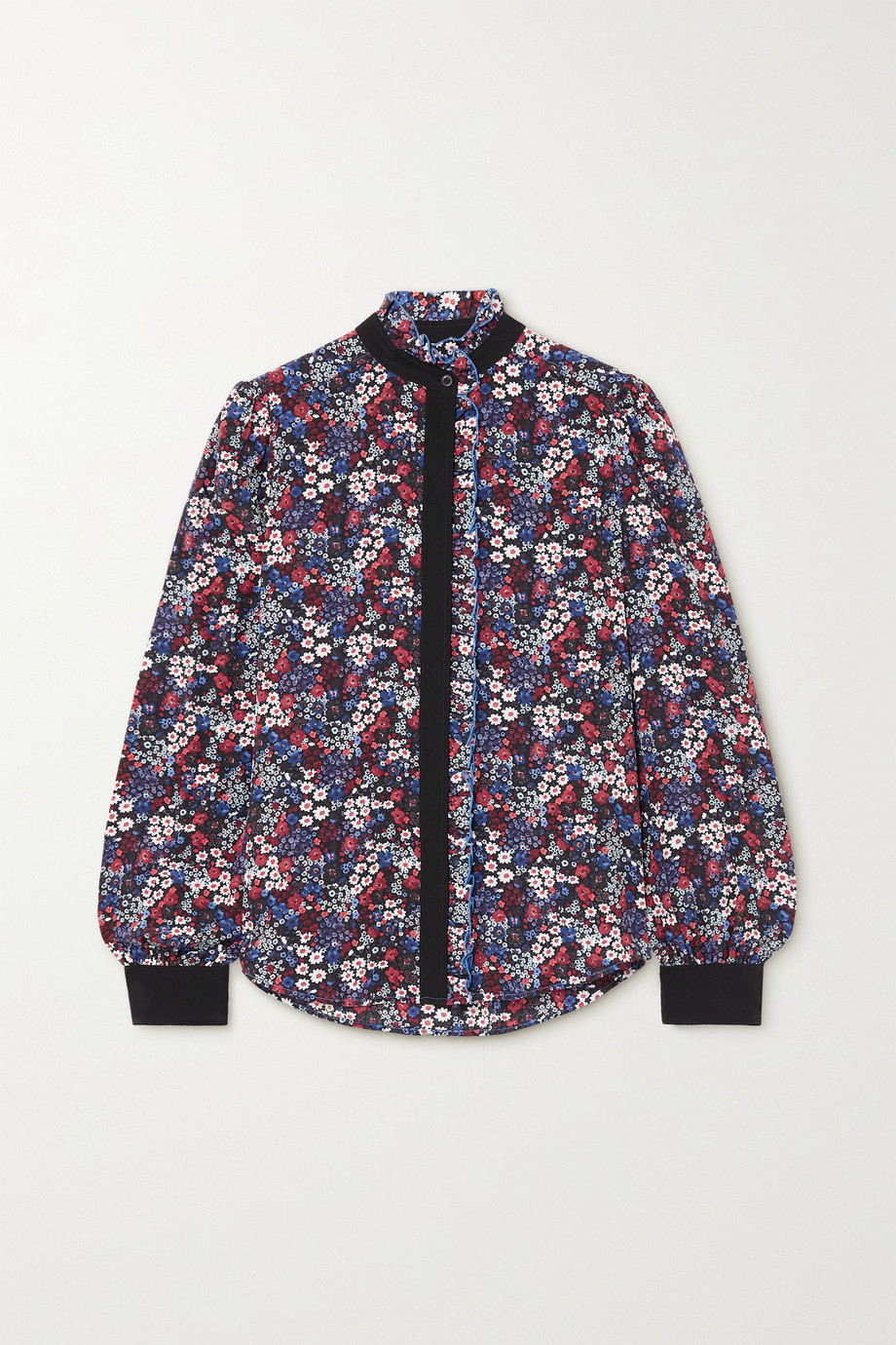 See By Chloé Ruffled floral-print silk crepe de chine blouse