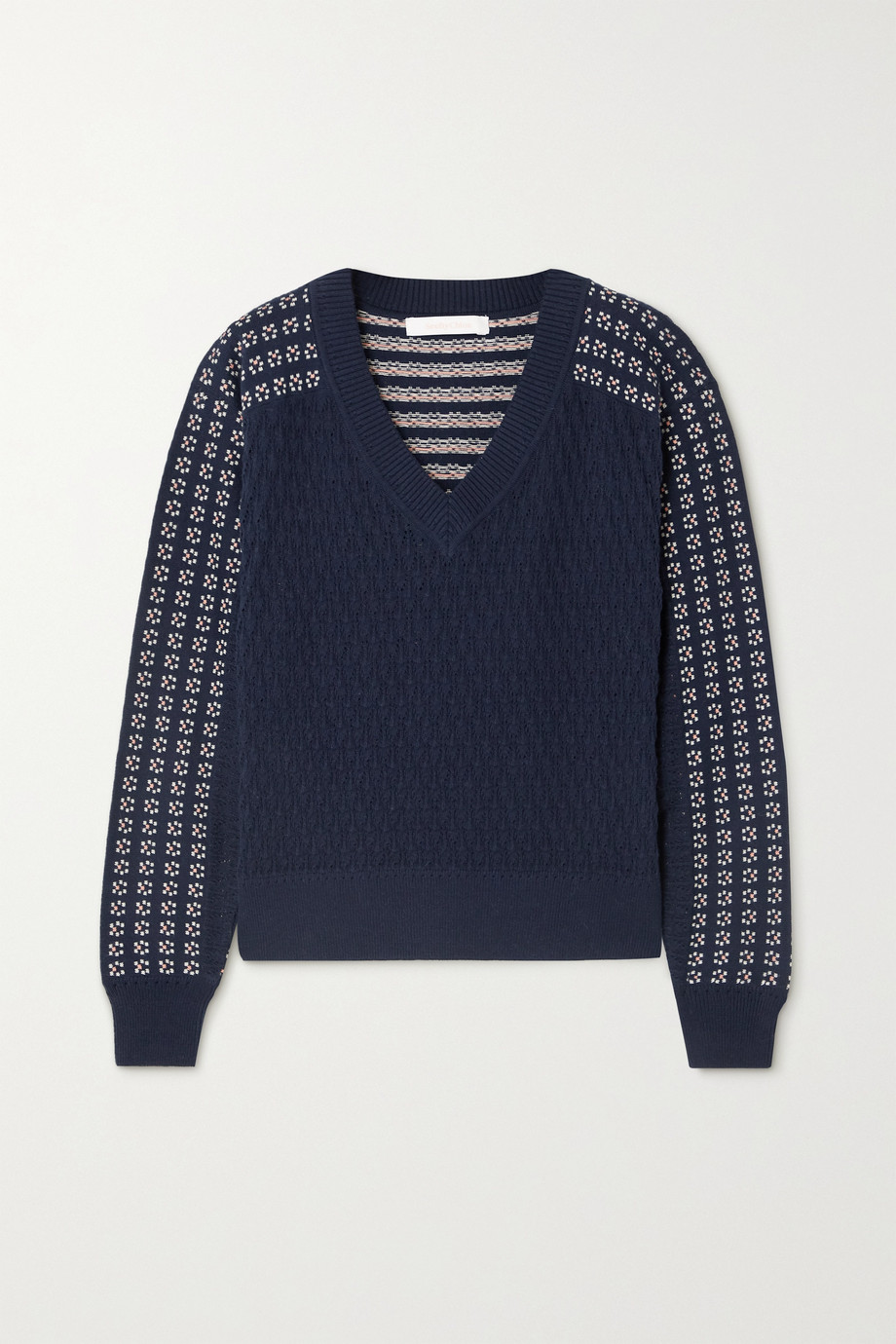 See By Chloé Pointelle-knit and intarsia cotton and alpaca-blend sweater