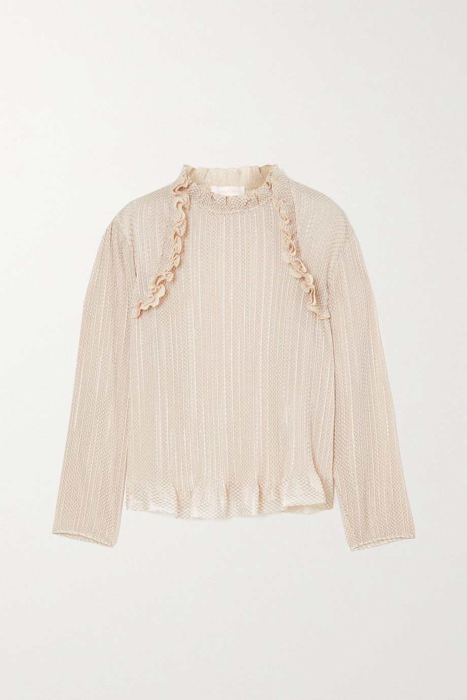See By Chloé Ruffled metallic plissé-chiffon top