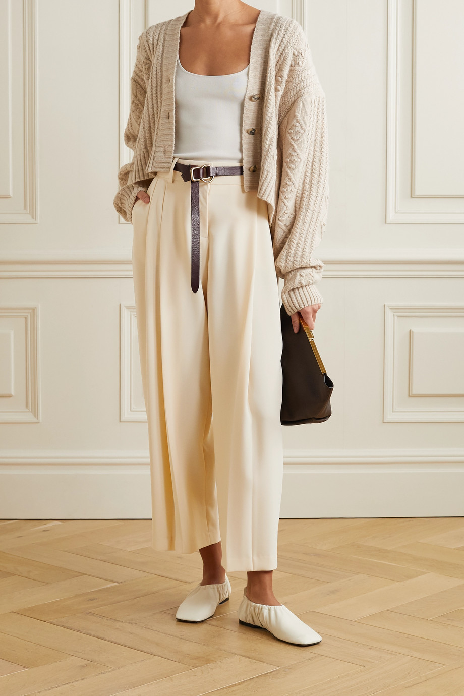 See By Chloé Cropped pleated crepe pants