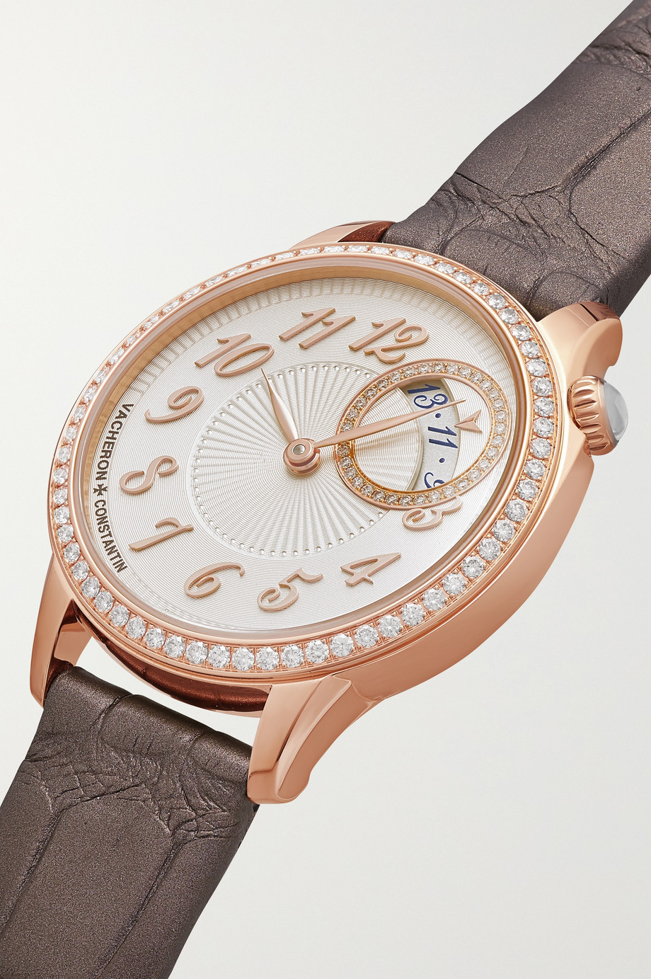 Vacheron Constantin Égérie 30mm 18-karat pink gold, alligator and diamond watch