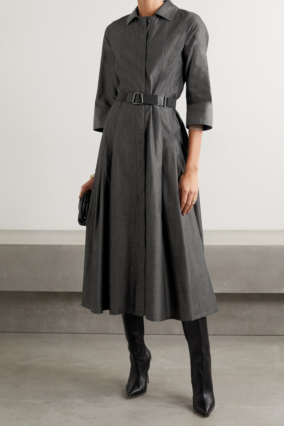 Akris Belted cotton-poplin midi shirt dress