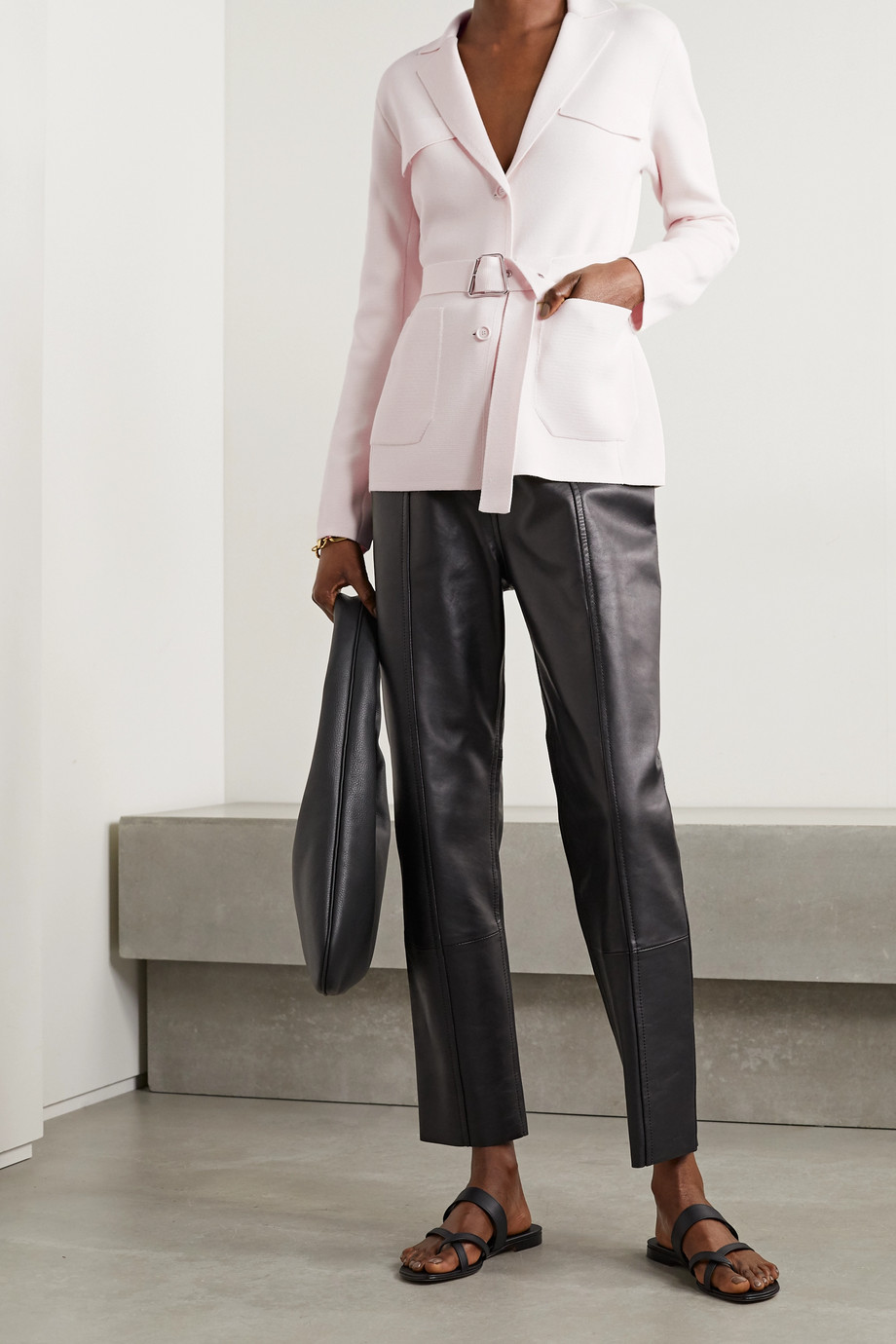 Akris Belted wool and mulberry silk-blend blazer