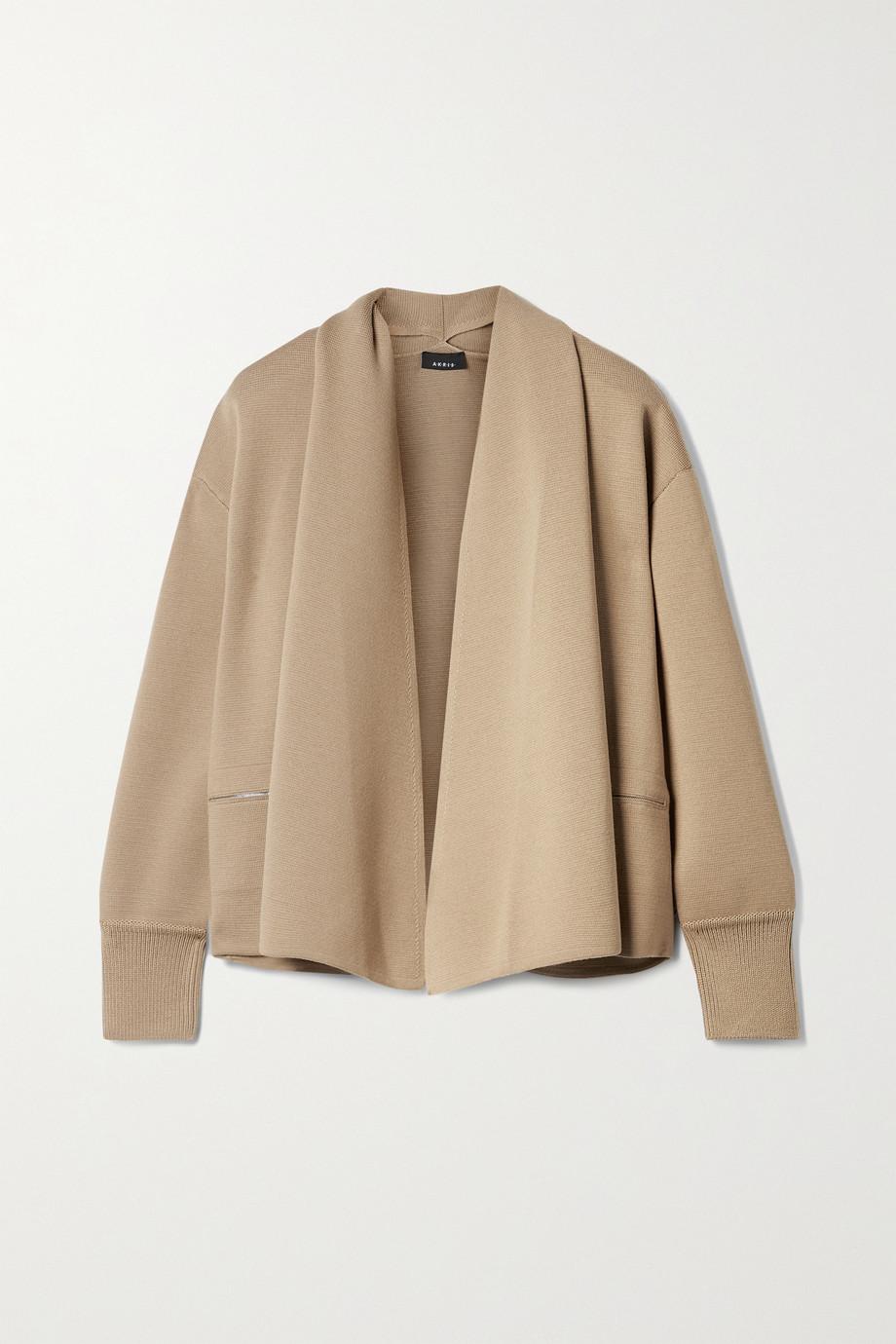 Akris Draped wool and mulberry silk-blend cardigan