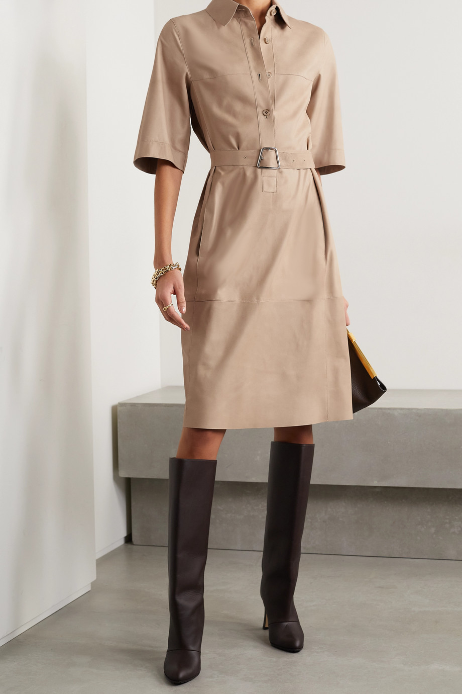 Akris Belted paneled leather shirt dress