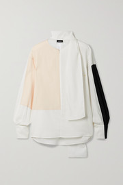Akris Tie-detailed color-block wool-twill blouse