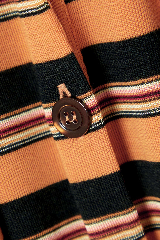 Chloé Belted striped wool-blend midi dress