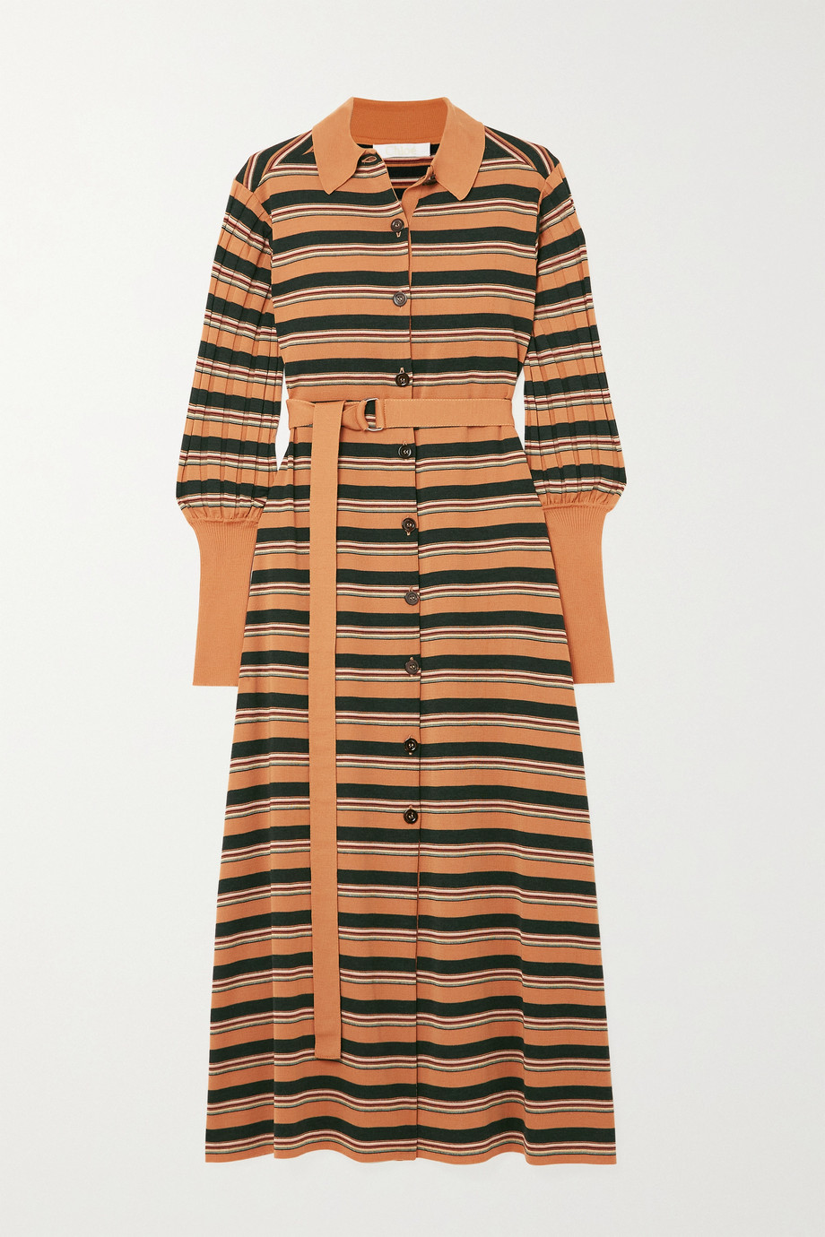 Chloé Belted striped wool-blend midi dress