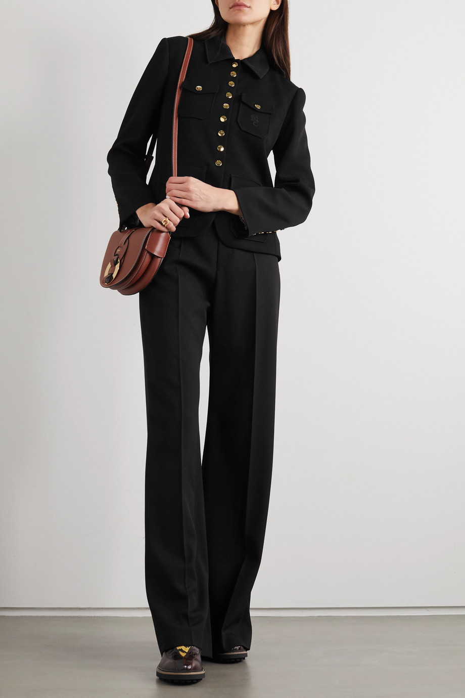 Chloé Embroidered crepe jacket