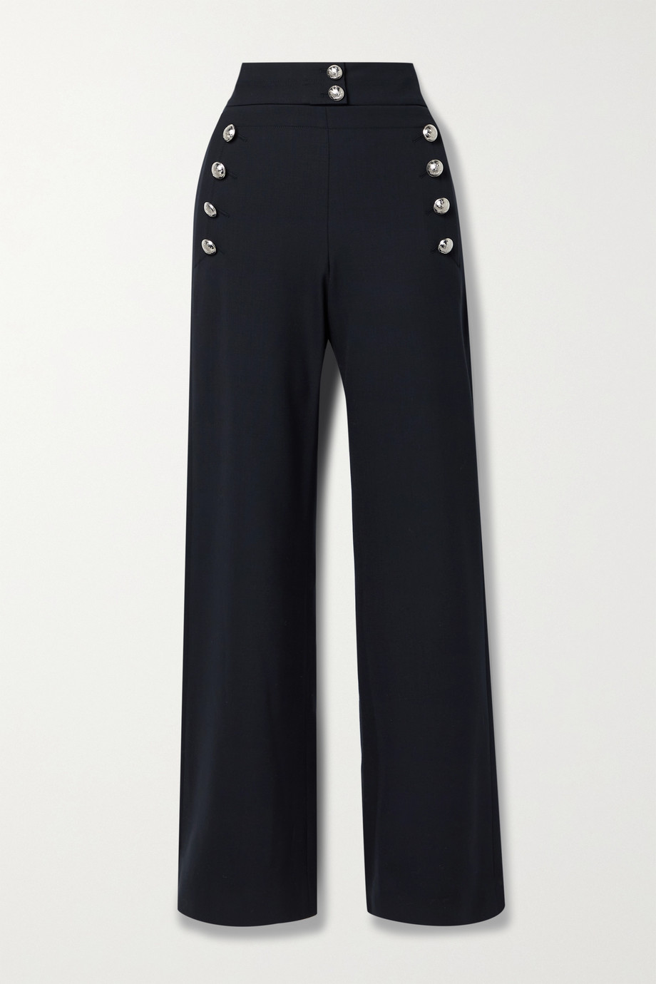 Chloé Button-embellished stretch-wool wide-leg pants
