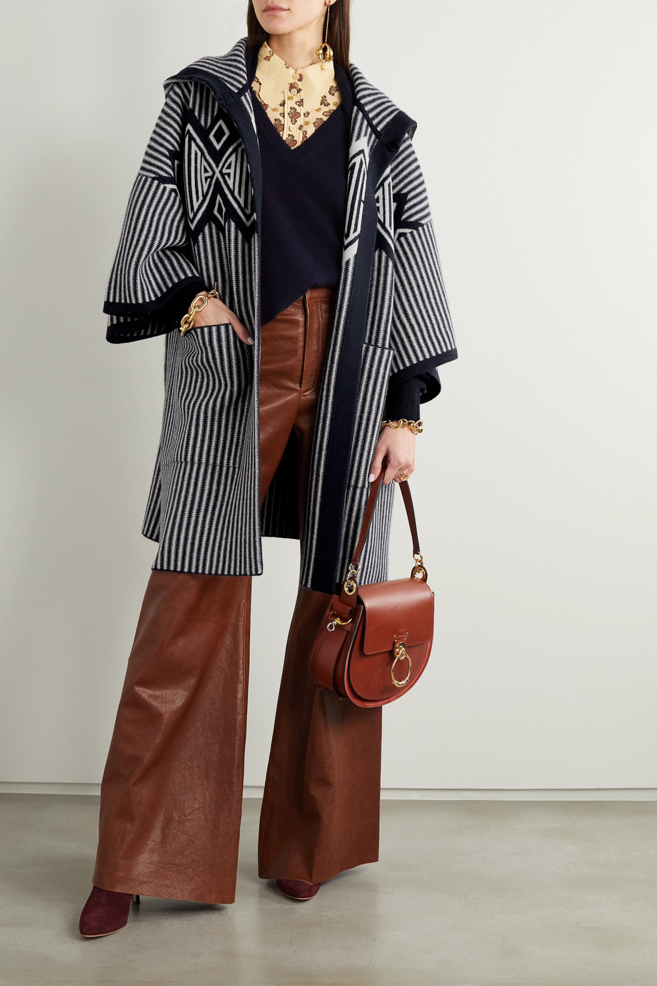Chloé Hooded intarsia wool and cashmere-blend cardigan