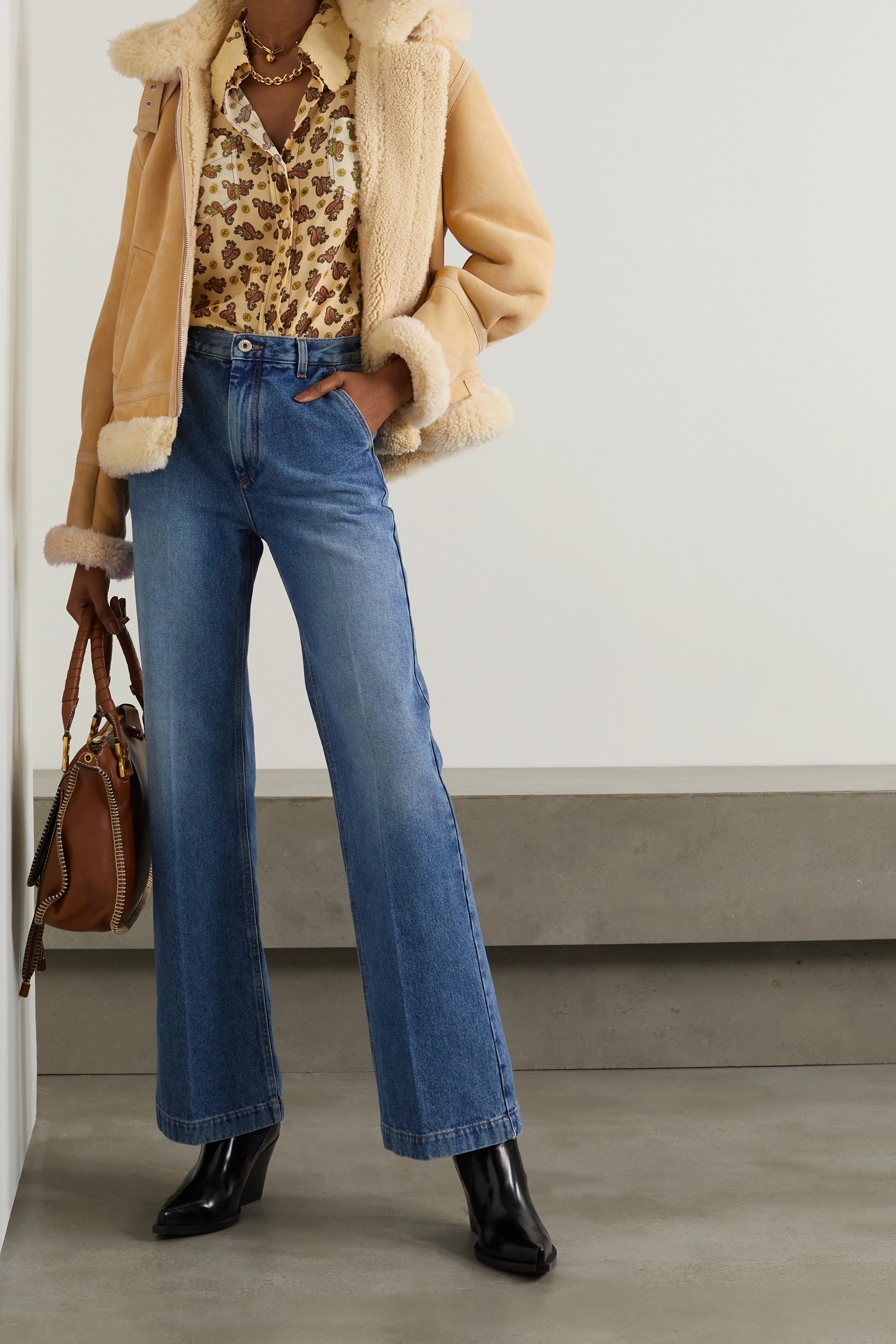 Chloé Aviator hooded suede-trimmed shearling jacket