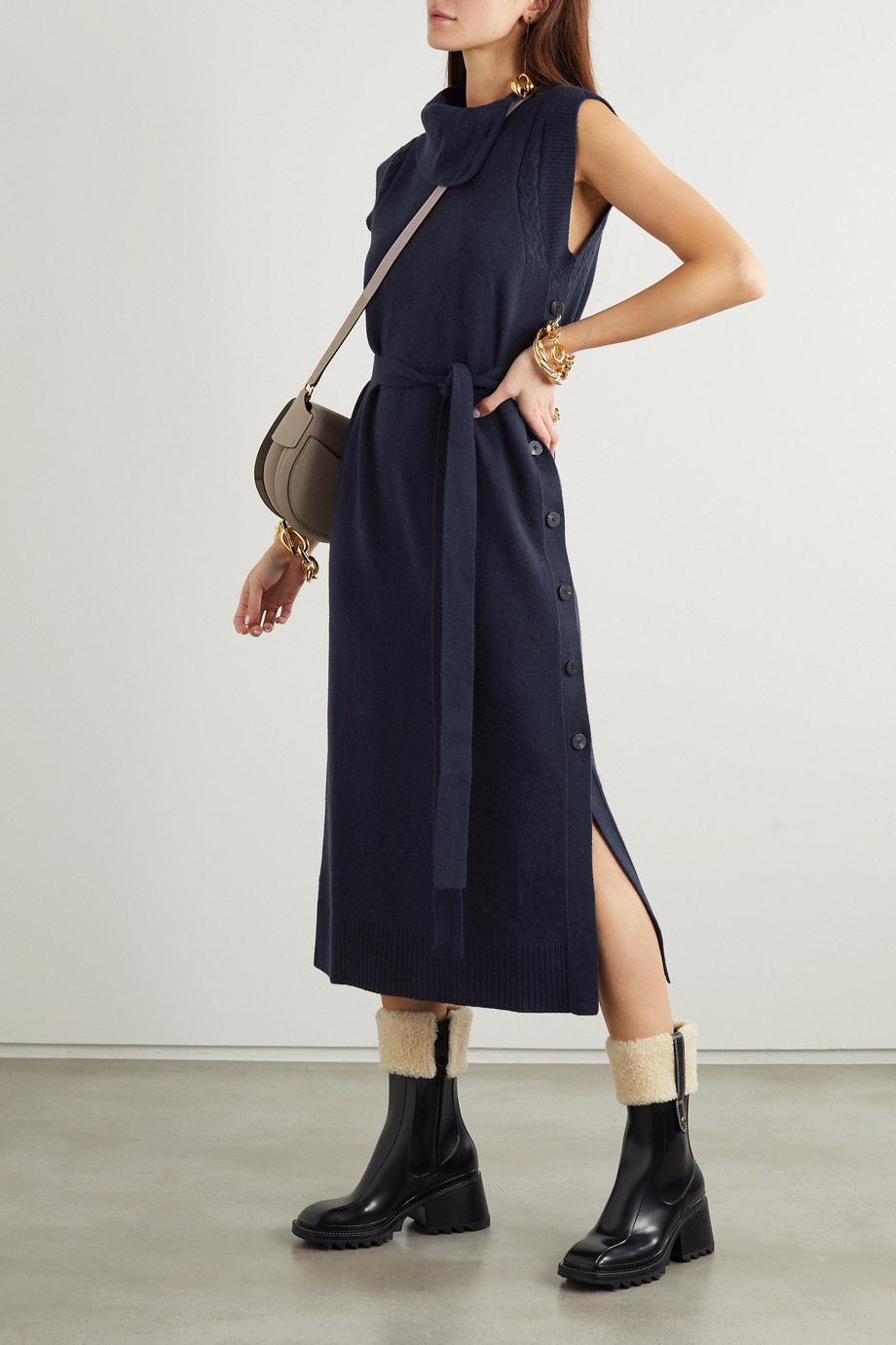 Chloé Belted button-detailed wool and cashmere-blend midi dress