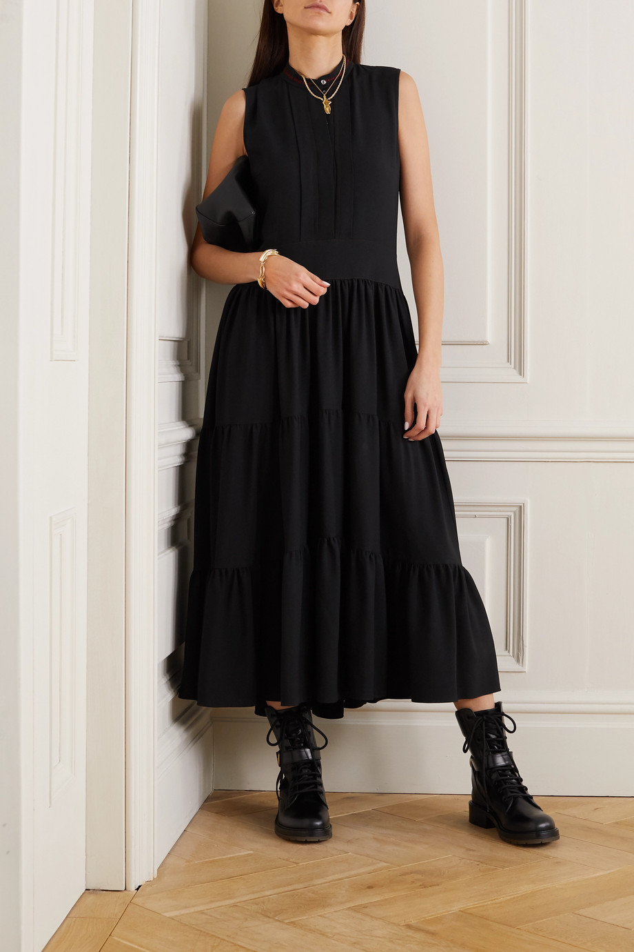 Chloé Tiered embroidered cady midi dress