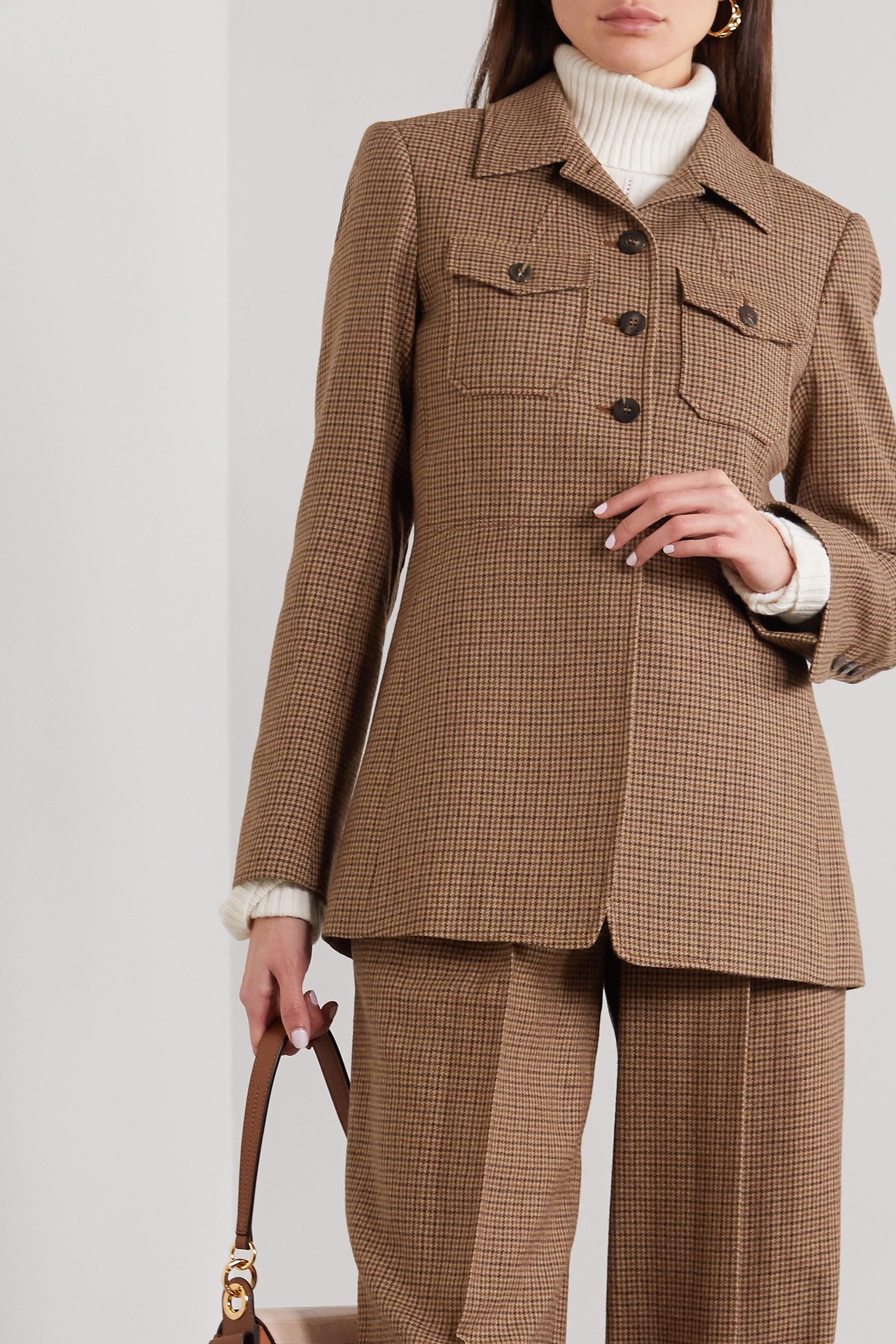 Chloé Veste en tweed de laine pied-de-poule
