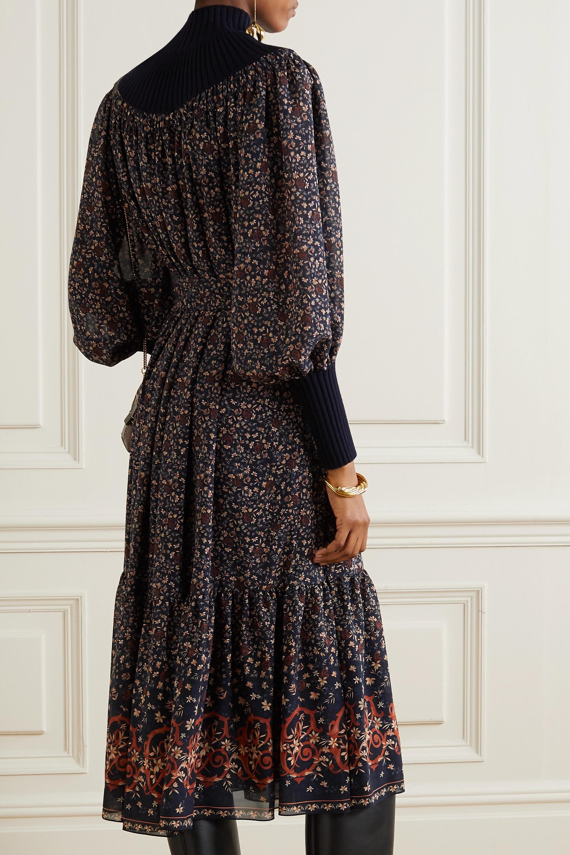 Chloé Midikleid aus Seiden-Georgette mit Blumenprint und einer Wollmischung