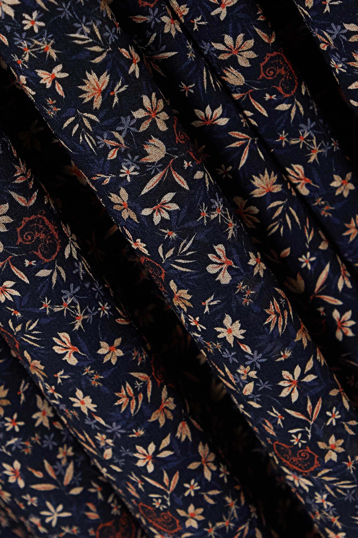Chloé Floral-print silk-georgette and wool-blend midi dress