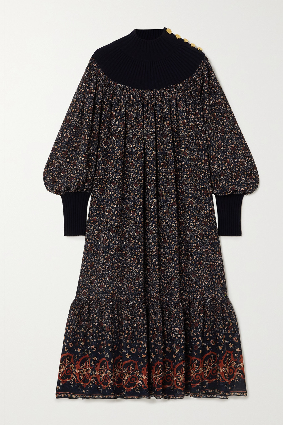 Chloé Floral-print silk-georgette and wool-blend midi dress