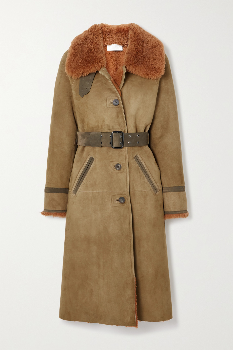 Chloé Belted shearling-trimmed suede coat