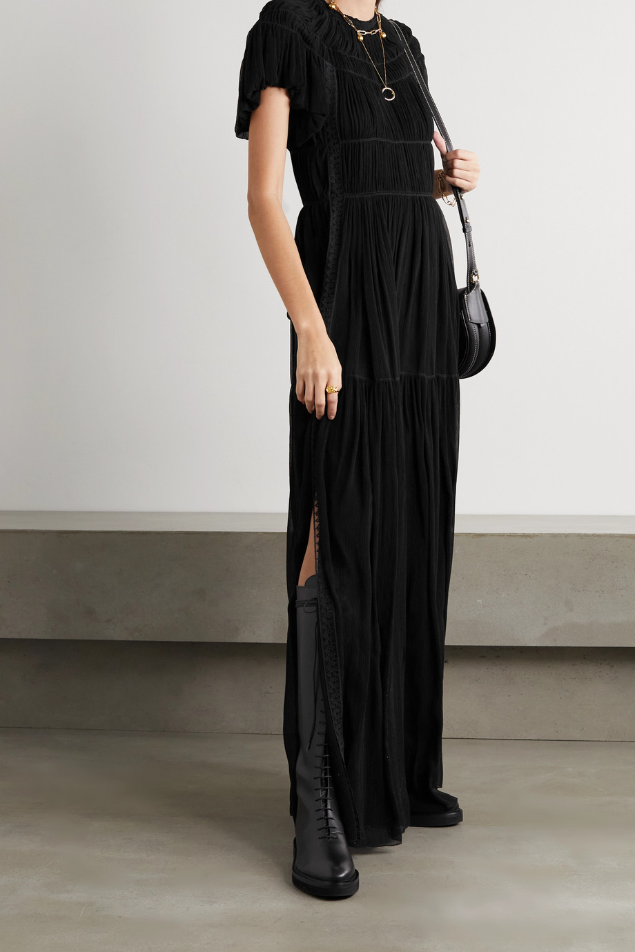 Chloé Lace-trimmed silk-crepon maxi dress