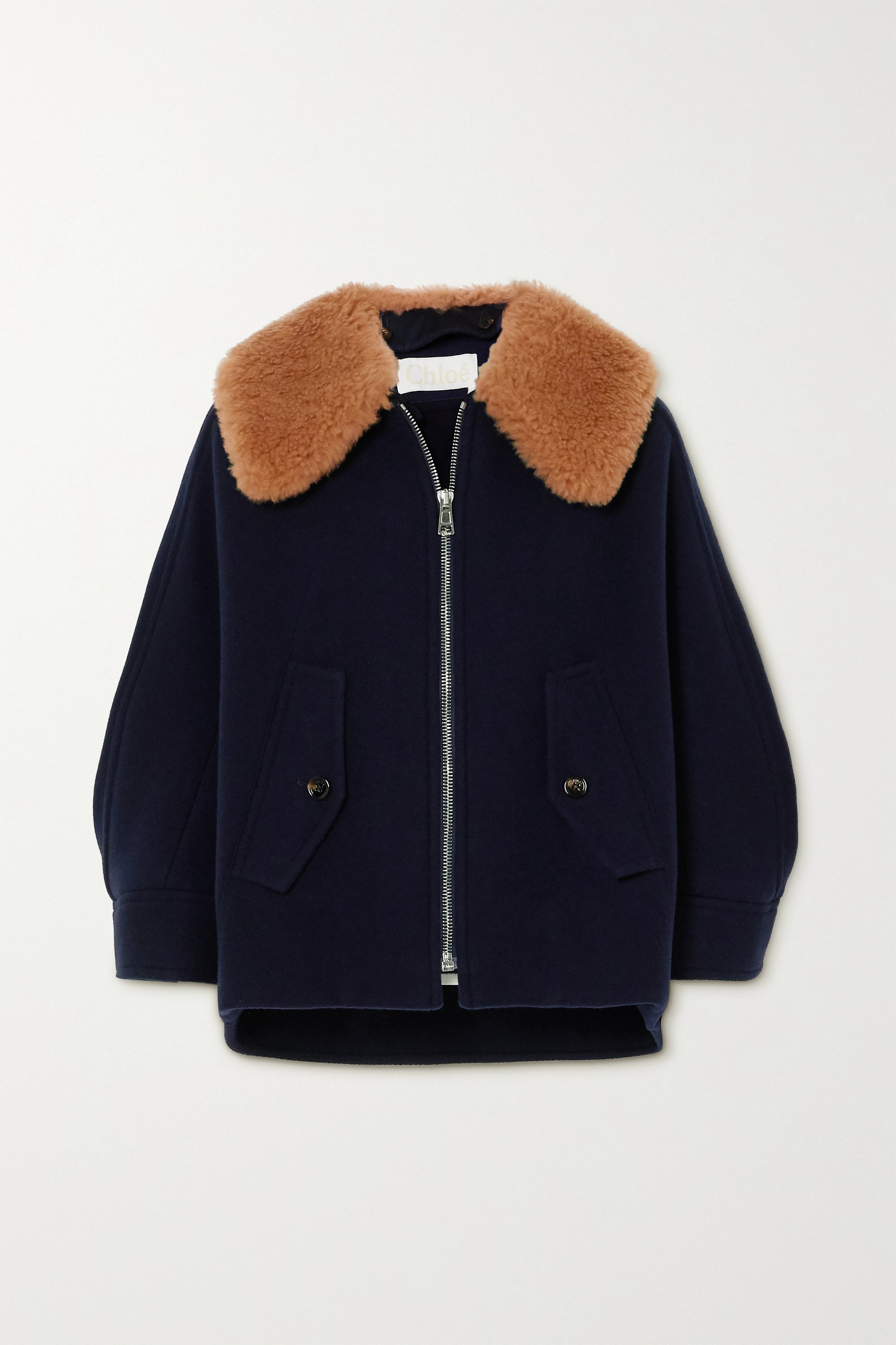 Chloé Convertible shearling-trimmed wool-blend jacket
