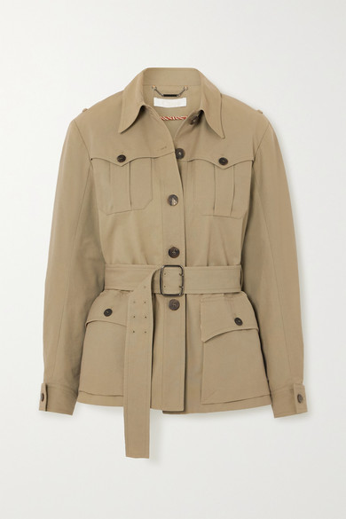 Chloé BELTED COTTON-BLEND CANVAS JACKET