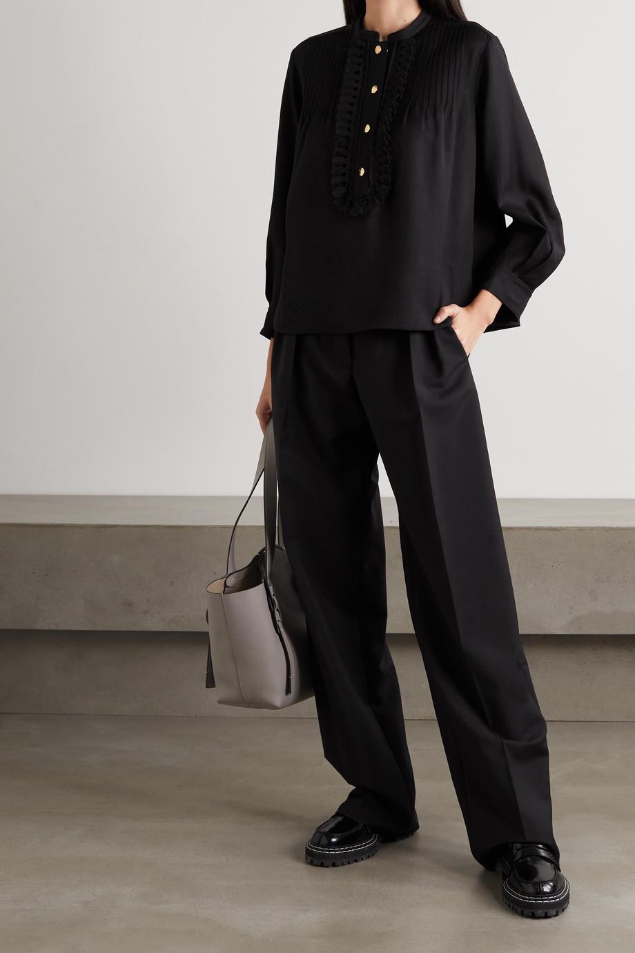 Chloé Pintucked scalloped gabardine blouse