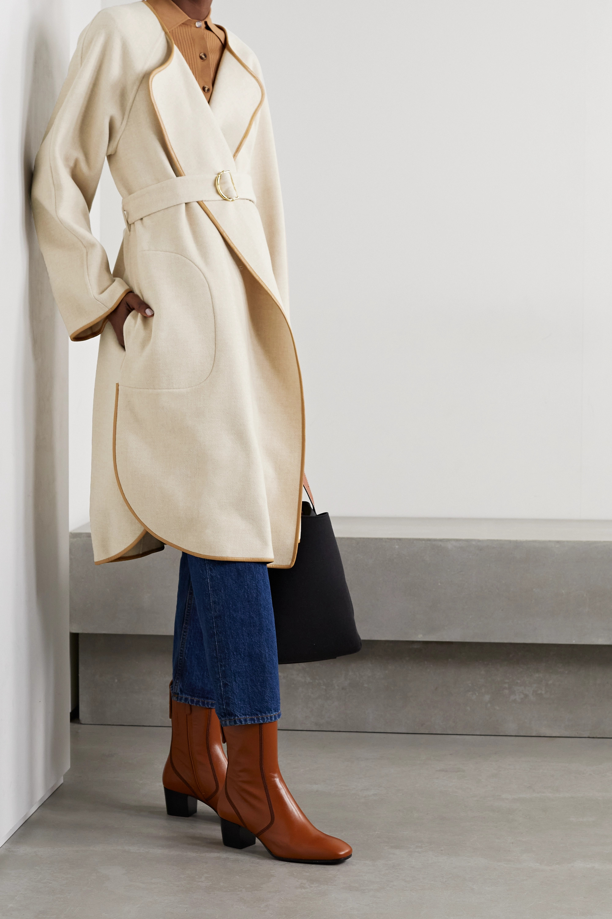 Chloé Belted leather-trimmed wool and cashmere-blend coat