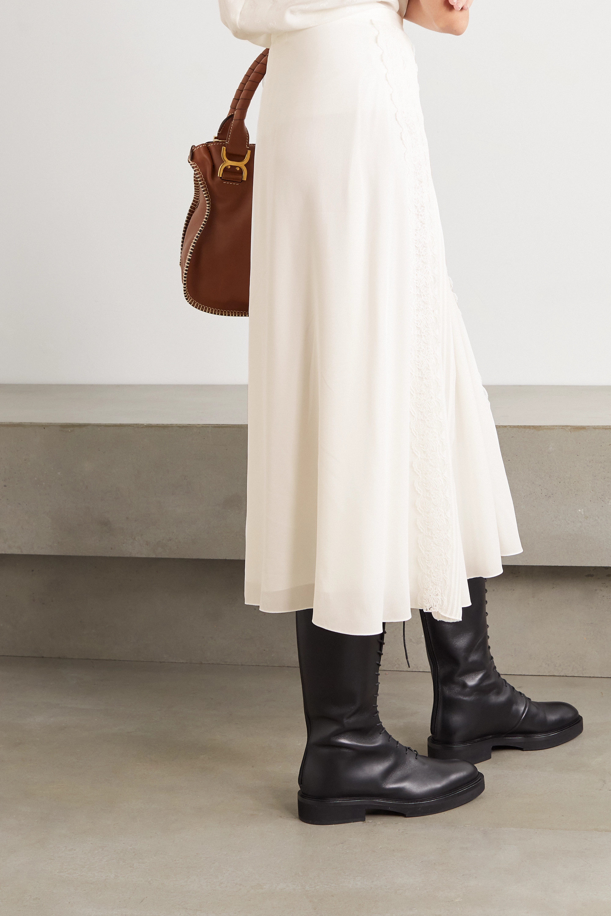 Chloé Lace-trimmed pintucked silk-georgette midi skirt