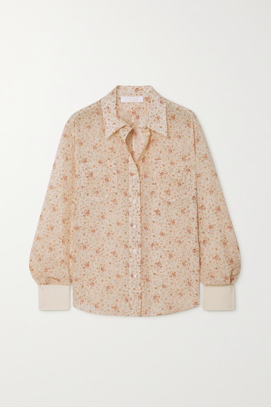 Chloé Floral-print silk shirt