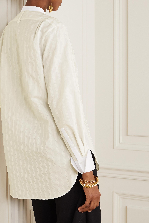 Chloé Hemd aus gestreiftem Baumwoll-Jacquard mit Verzierungen