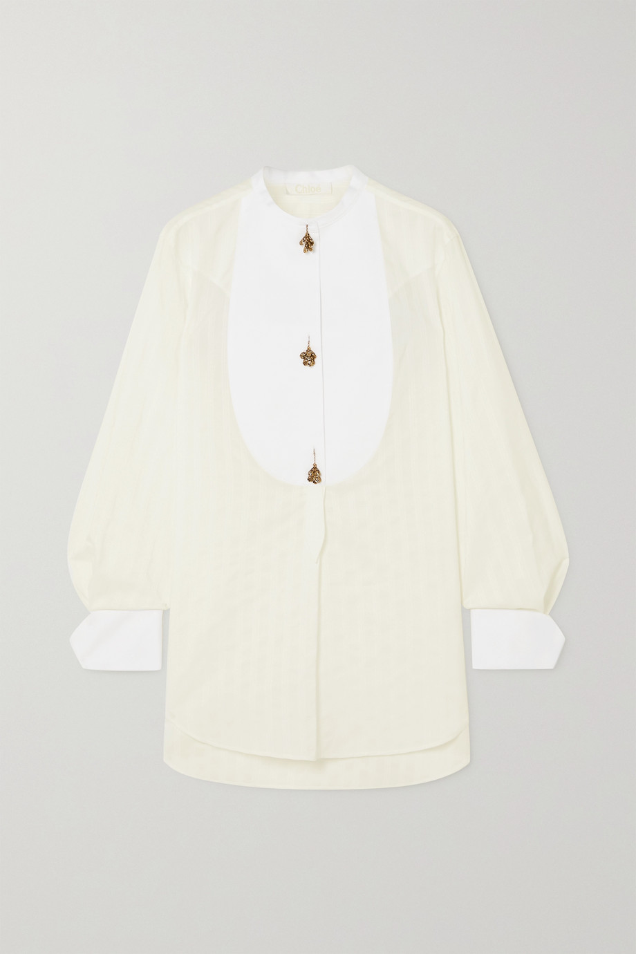 Chloé Embellished striped cotton-jacquard shirt