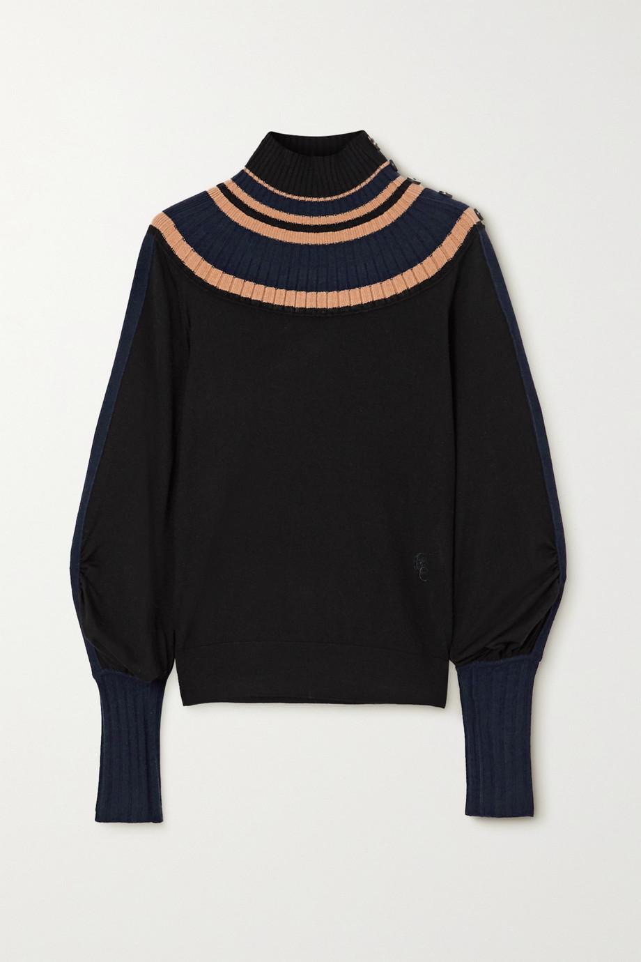 Chloé Gestreifter Pullover aus gerippter Wolle mit Stehkragen