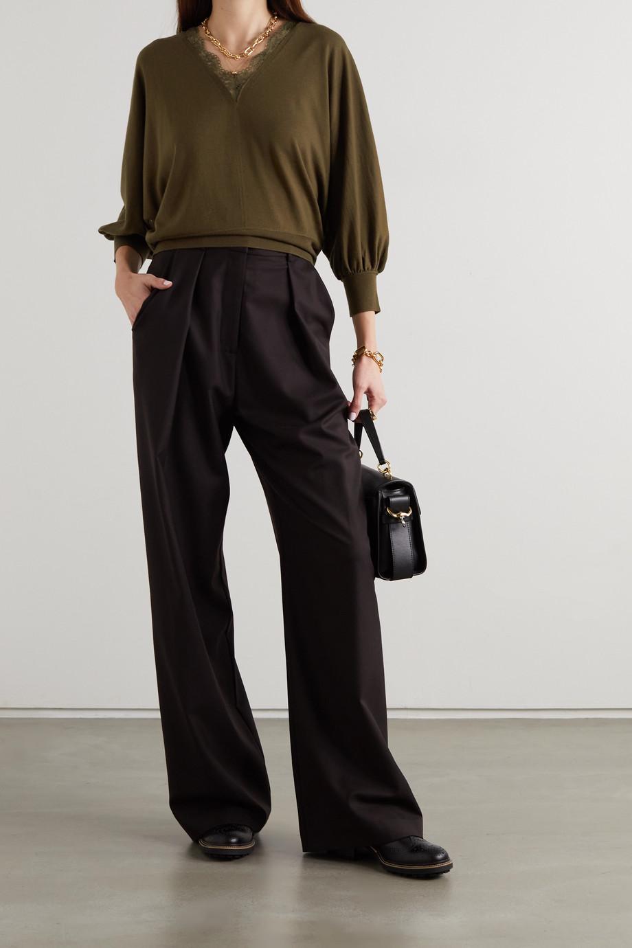 Chloé Pullover aus Wolle mit Spitzenbesatz