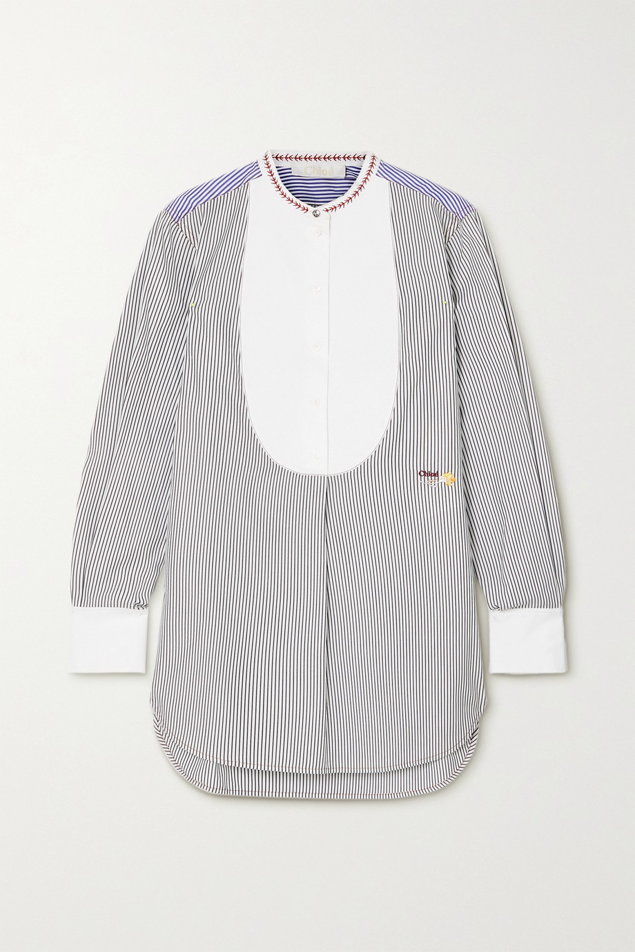 Chloé Embroidered striped cotton-poplin shirt