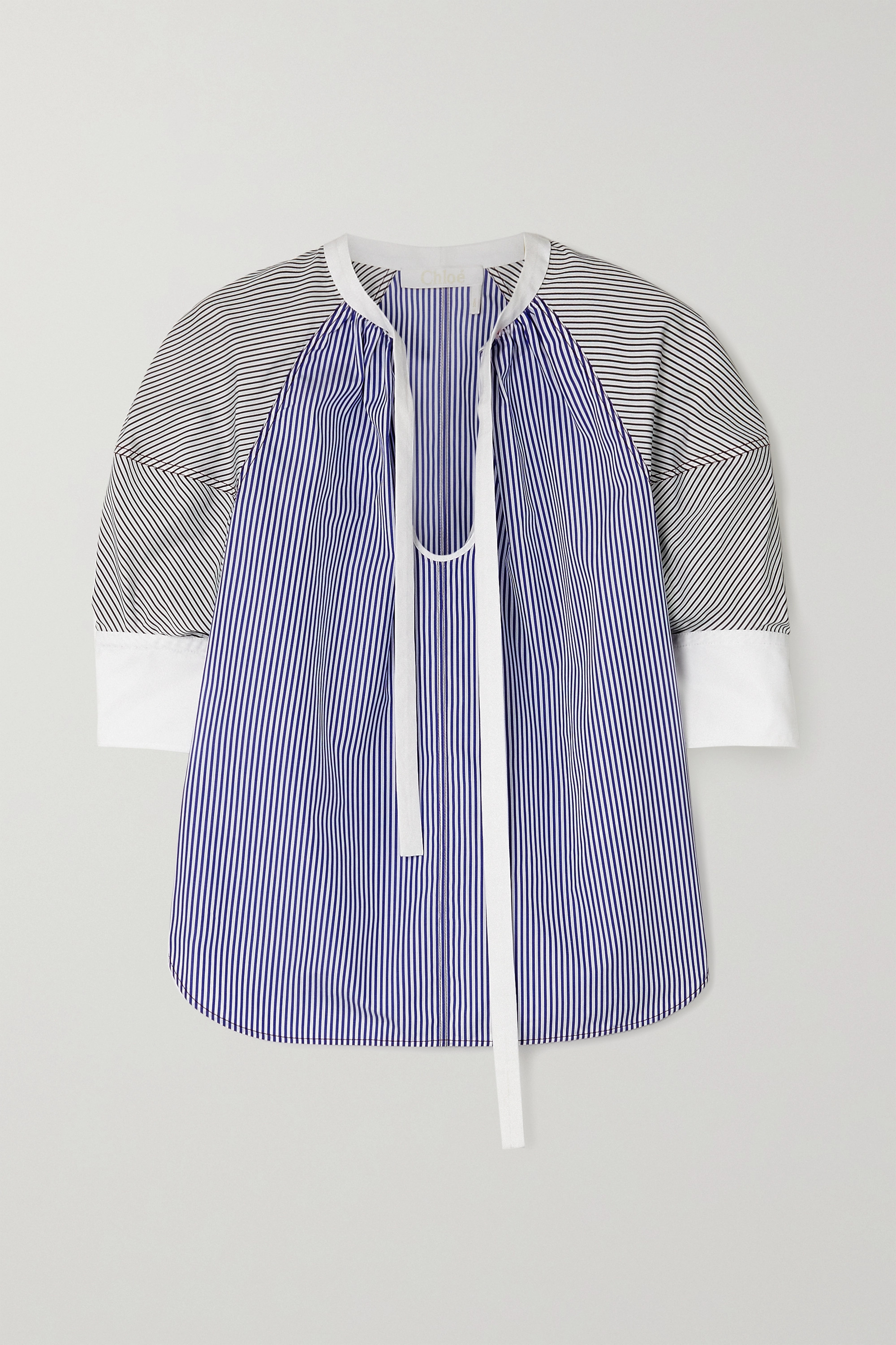 Chloé Tie-neck pinstriped cotton-poplin blouse