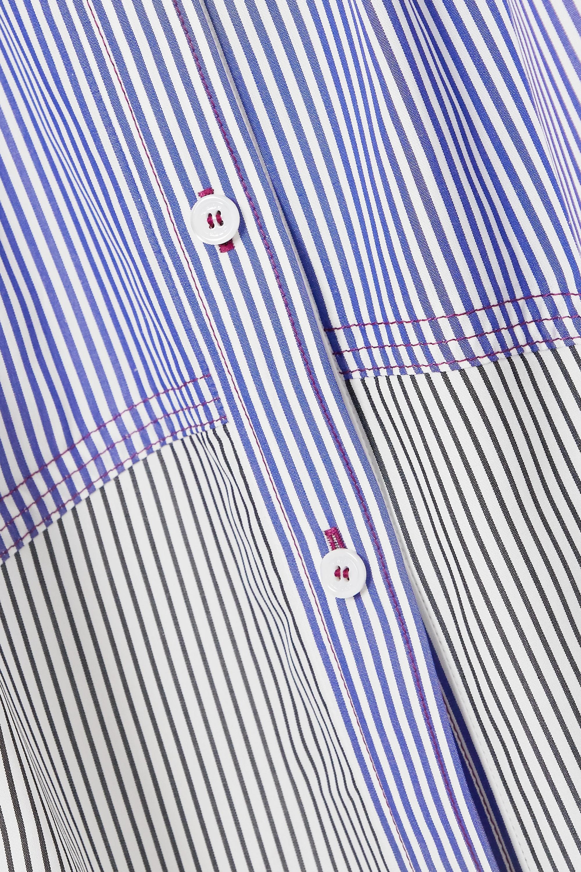 Chloé Belted paneled striped cotton-poplin midi skirt