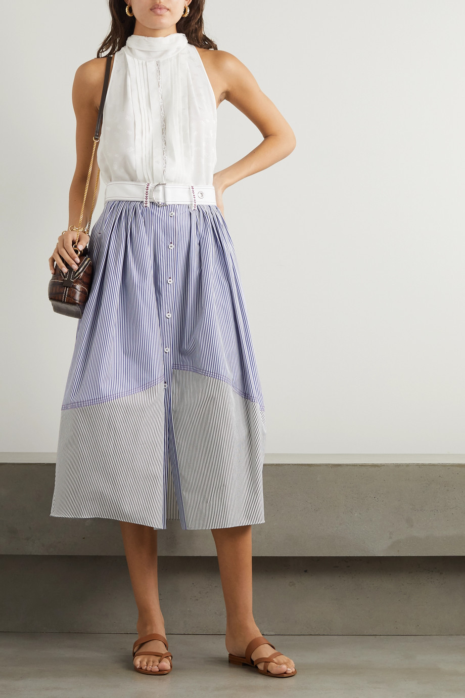 Chloé Belted paneled striped cotton-poplin midi skirt