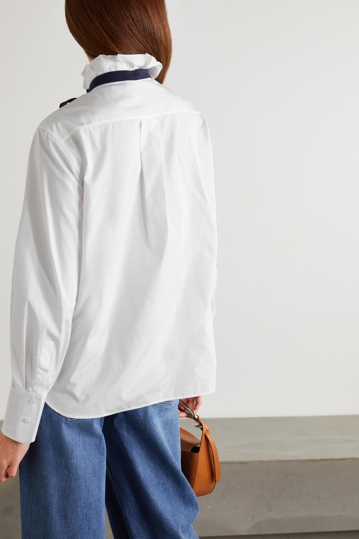 Chloé Silk-trimmed ruffled cotton-poplin shirt