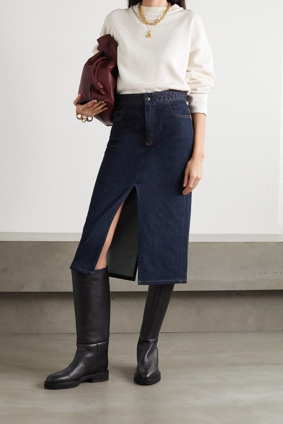Chloé Braided stretch-denim midi skirt