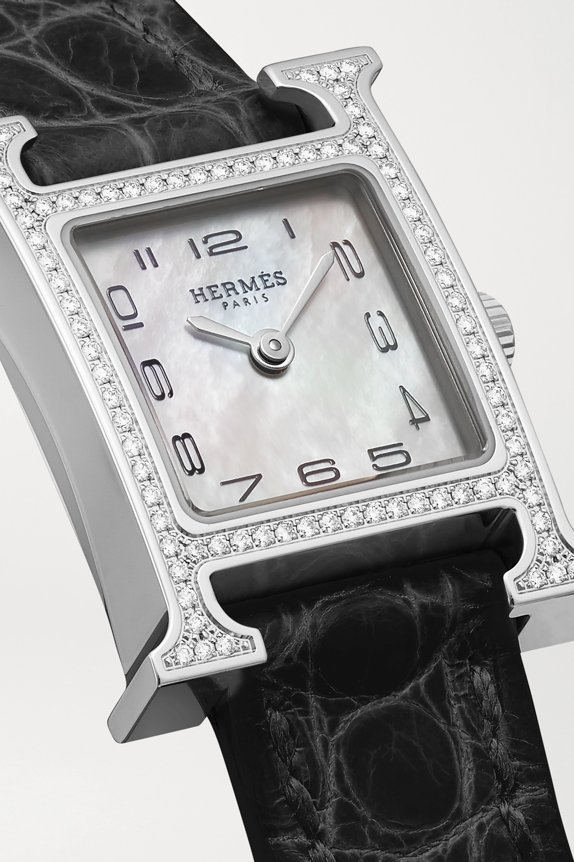 Hermès Timepieces Heure H 17.2mm very small stainless steel, alligator, mother-of-pearl and diamond watch