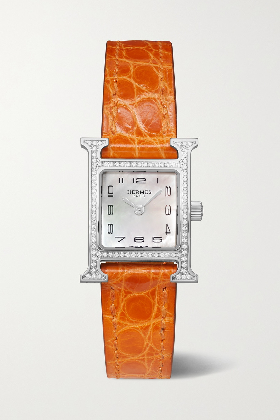 Hermès Timepieces Heure H 17.2mm stainless steel, alligator, mother-of-pearl and diamond watch