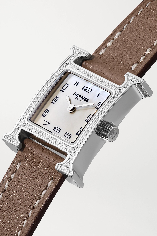Hermès Timepieces Heure H 17.2 毫米精钢、珍珠母、钻石超小号腕表(皮革表带)