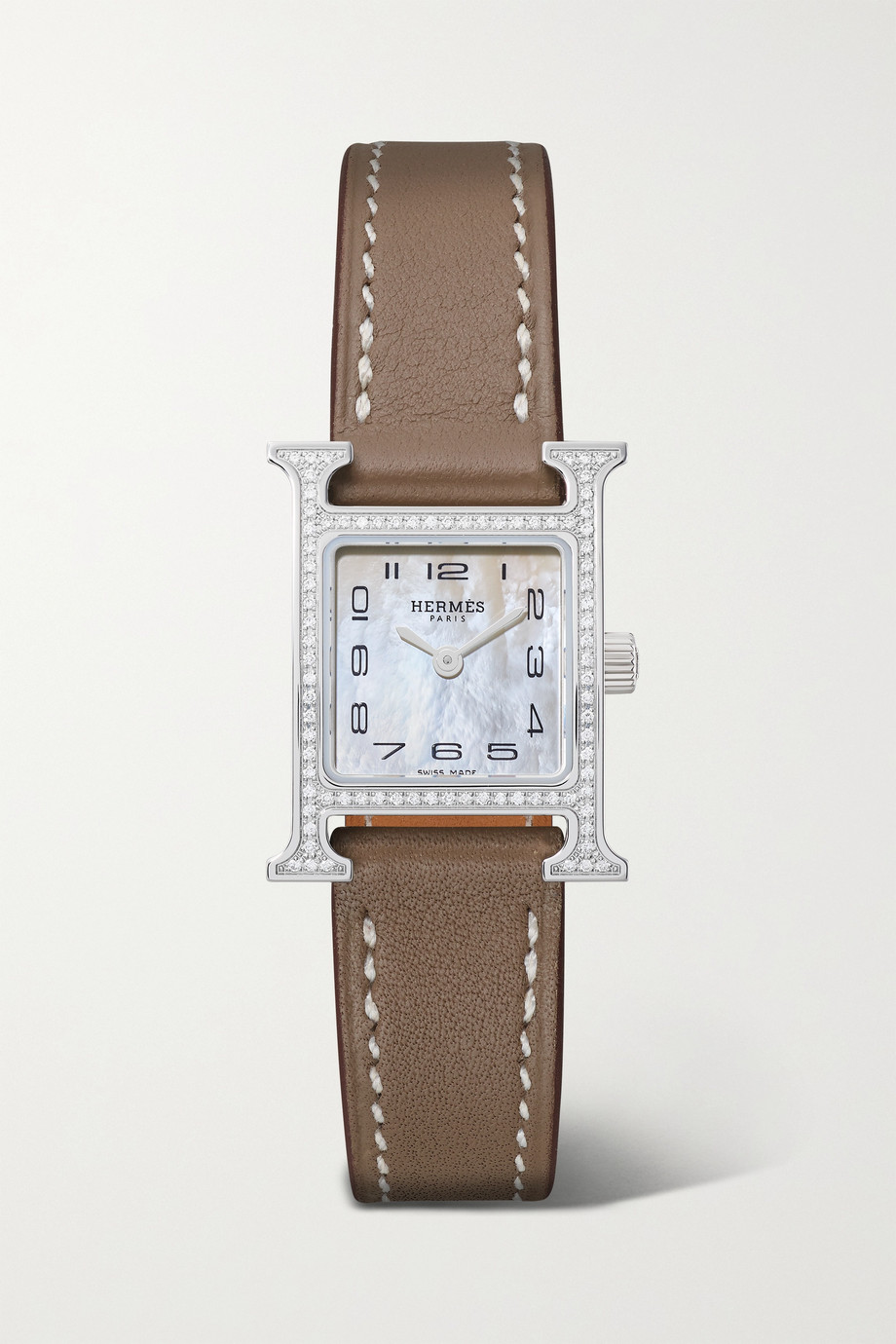 Hermès Timepieces Heure H 17.2mm very small stainless steel, leather, mother-of-pearl and diamond watch