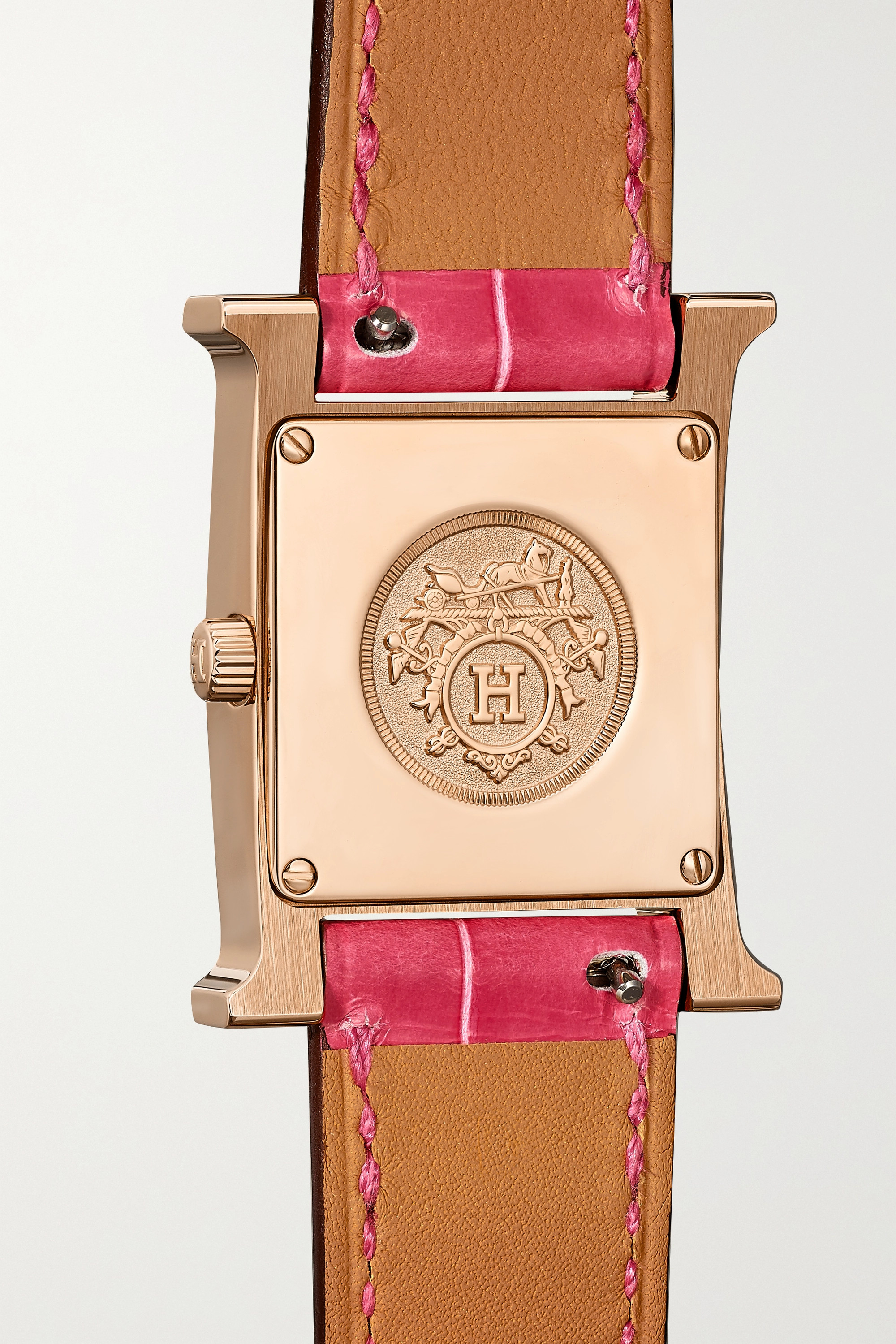 Hermès Timepieces Heure H 21mm 18-karat rose gold, alligator, mother-of-pearl and diamond watch
