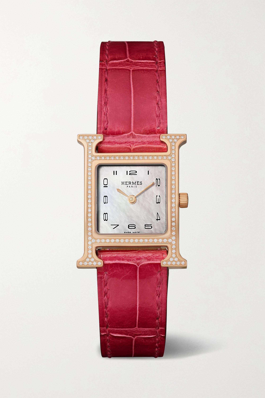 Hermès Timepieces Montre en or rose 18 carats, nacre et diamants à bracelet en alligator Heure H 21 mm