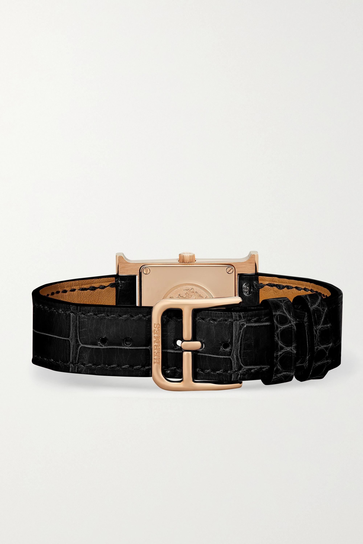 Hermès Timepieces Montre en or rose 18 carats (750/1000), diamants et nacre à bracelet en alligator Heure H Small 21 mm