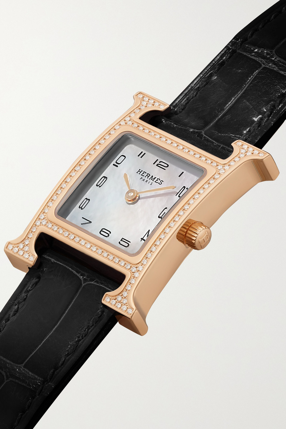 Hermès Timepieces Heure H 21mm small 18-karat rose gold, alligator, mother-of-pearl and diamond watch